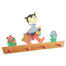 Vintage Germany Wooden Puss in Boots Wall Hanger
