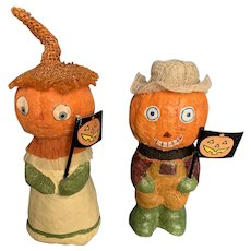 Adorable Vintage Artist Halloween Mr. & Mrs. Pumpkin Pair