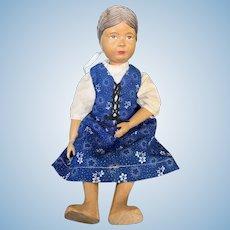 """Vintage Carved Wooden Swiss Huggler Doll 11 1/2"""""""