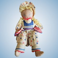 "Adorable 13"" Painted Cloth Face Doll"