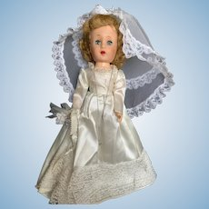1950's Hard Plastic Walker Bride Doll 15 1/2""