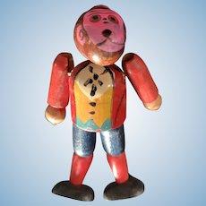 Adorable Vintage Wood Bead Bellhop Monkey Doll