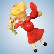 "Adorable Vintage Wood Bead Valentine Girl Doll 3 1/2"""