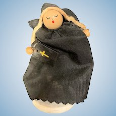 Adorable Vintage Wood Bead Nun Doll 3""
