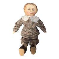 """Vintage 11"""" Painted Cloth Artist Folk Art Doll"""
