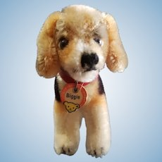 1950's Steiff Mohair Biggie Dog with Chest Tag