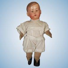 """Vintage 11"""" Celluloid & Cloth Stuffed Body German Doll"""