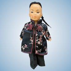 "Vintage 13"" German Composition Amuso Asian Child Doll"