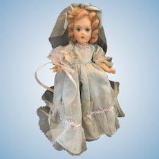"Beautiful 1940's Composition Green Taffeta Bridesmaid Doll 12"""
