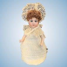 """Vintage 7"""" Gebruder Heubach Key Wind Dancing Bisque Head Doll"""