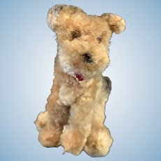 Adorable Miniature Chenille Glass Eyed Terrier Dog Doll Companion