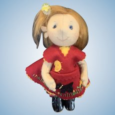 "Adorable Mohair and Felt Artist Karen Smith 9"" Little Girl Doll"