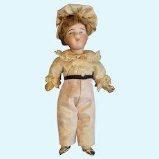 "Adorable Bisque Head Little Boy Doll All Original 5 1/2"""