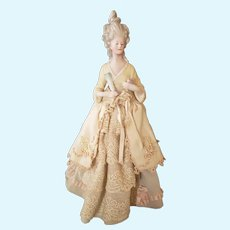 Beautiful German Bisque Half Doll with Elegant Coiffure with Original Lamp Attachment