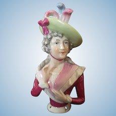 Beautiful German Porcelain Half Doll with Elegant Hat