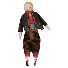 Vintage Bisque Shoulder Head Doll House Doll in Regional Costume