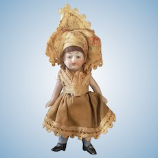 """Vintage 4 1/2"""" All Bisque Doll With Orignal Costume"""