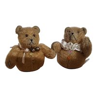 Adorable Vintage Pair Teddy Bear Artist Roly Poly Bears for Doll Friend