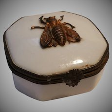 Vintage Limoges Trinket Box Applied Bronze Bee, Early Mark