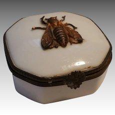 Vintage Limoges Trinket Box Applied Bronze Bee, Early Mark