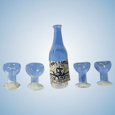 Half Inch Scale Dollhouse Wine Set Bottle 4 Glasses