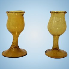 Set of Miniature Amber Colored Dollhouse Glass Goblets