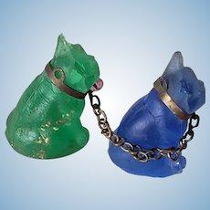 Pair of Vintage Czech Satin Glass Miniature Bulldogs