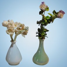 2 German Dollhouse Pottery Vases With Paper Flowers