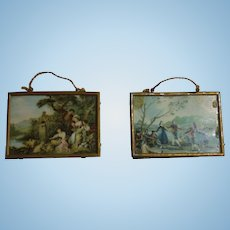 "Two Soft Metal Framed German Dollhouse Pictures 2 1/2"" x 1 3/4"""