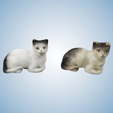 Pair of Tiny Bisque Cats For Your Dollhouse