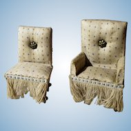 Set of Antique Upholstered German Dollhouse Chairs Delicate Pattern