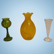 Three Miniature Pieces of Lauscha Dollhouse Art Glass