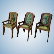 3 Vintage German Upholstered Dollhouse Dining Chairs