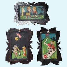 3 Adorable Framed Dollhouse Nursery Rhyme Prints