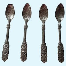 Antique Embossed Tin Dollhouse Spoons, Set of Four