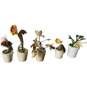 5 Vintage German Dollhouse Plants in Wood Pots