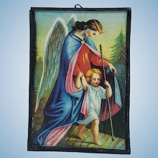 Antique Dollhouse Picture Angel and Child