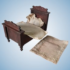 Antique Larger Scale German Wooden Dollhouse Bed, Art Nouveau Design