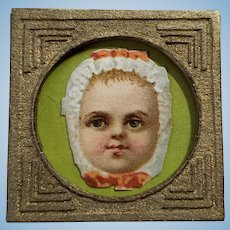 Dollhouse Picture Vintage Litho Baby Head Pressed Cardboard Frame