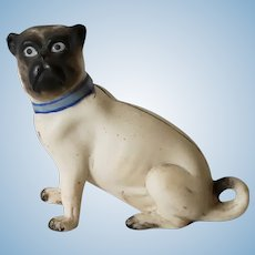 Antique Bisque Seated Pug Dog Figurine For Large Scale Dollhouse