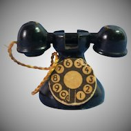 Vintage Wooden Dollhouse Phone, Paper Dial