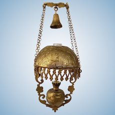 Vintage Artisan Ellen Blauer Hanging Lamp Embossed Brass For The Dollhouse