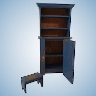 Artisan Made Primitive Blue Hutch Cabinet Cupboard And Stool For The Dollhouse