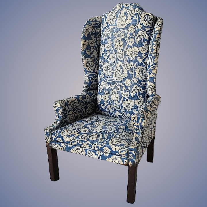 Amazing Vintage Artisan Made Wing Chair Blue And White Uwap Interior Chair Design Uwaporg