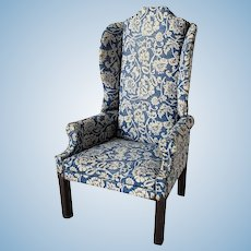 Vintage Artisan Made Wing Chair Blue And White