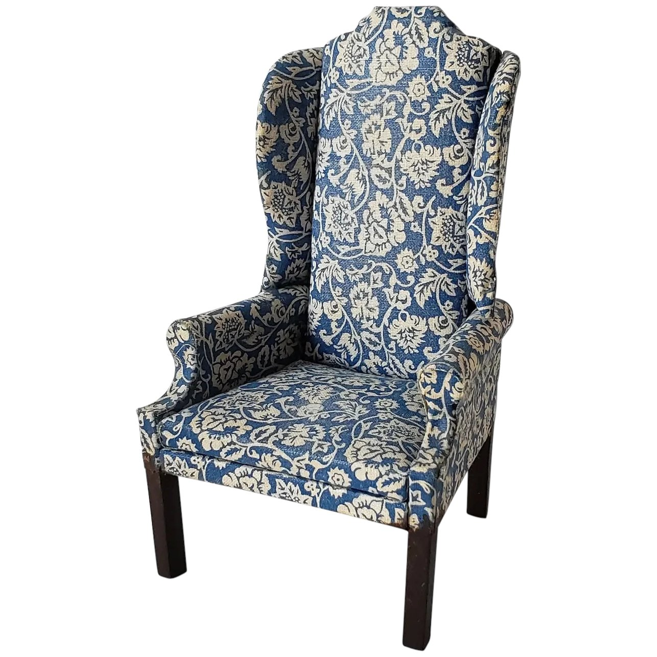 Groovy Vintage Artisan Made Wing Chair Blue And White Uwap Interior Chair Design Uwaporg