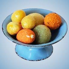 Miniature Vintage Blue Tin Compote Dish Citrus Fruit