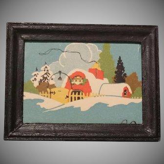 Vintage Framed Winter Scene for Dollhouse