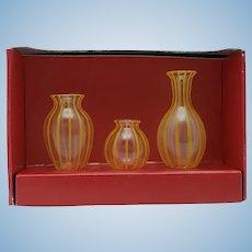 Vintage Bodo Hennig Lauscha Glass Vase Set in Original Box