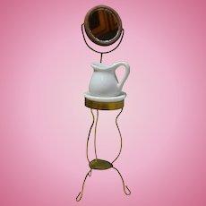 Unusual Handmade Brass Dollhouse Shaving Stand